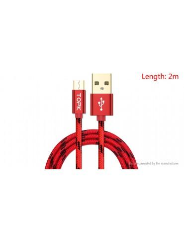 TOPK Micro-USB to USB 2.0 Nylon Braided Data Sync / Charging Cable (200cm)