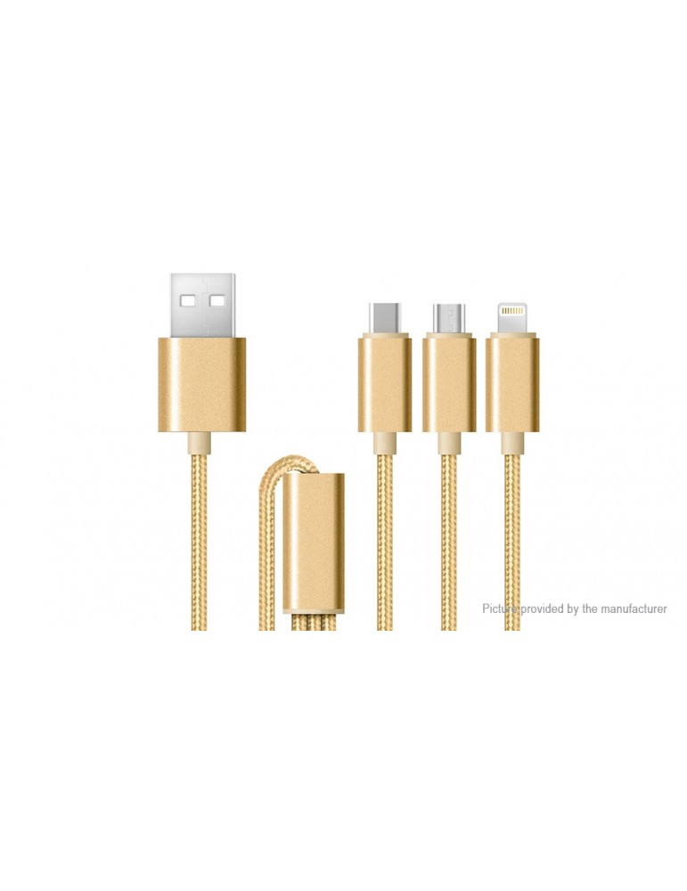 3-in-1 Micro-USB/USB-C/8-pin to USB Data Sync / Charging Cable (120cm)