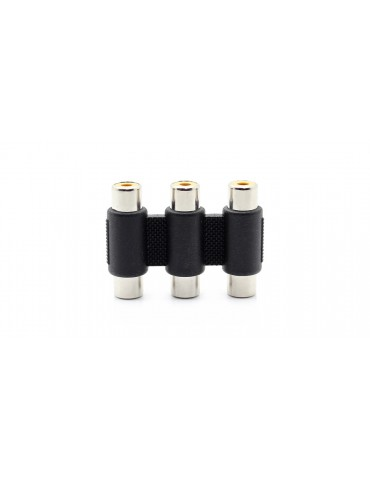 3-RCA Composite AV Female to Female Adapter