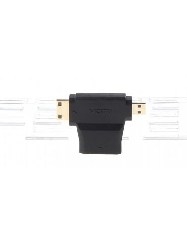 3-in-1 HDMI Female to Mini HDMI + Micro HDMI Male Adapter