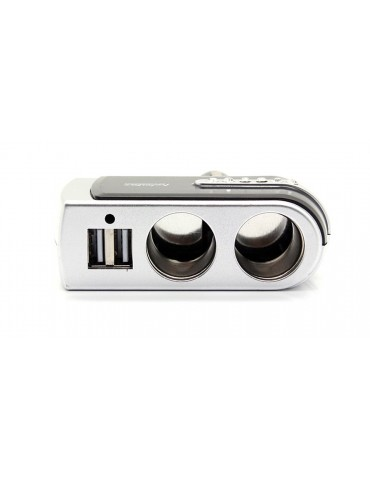 2 Ways Car Cigarette Lighter Charger Adapter w/ Double USB Socket Port and Faux Jewels