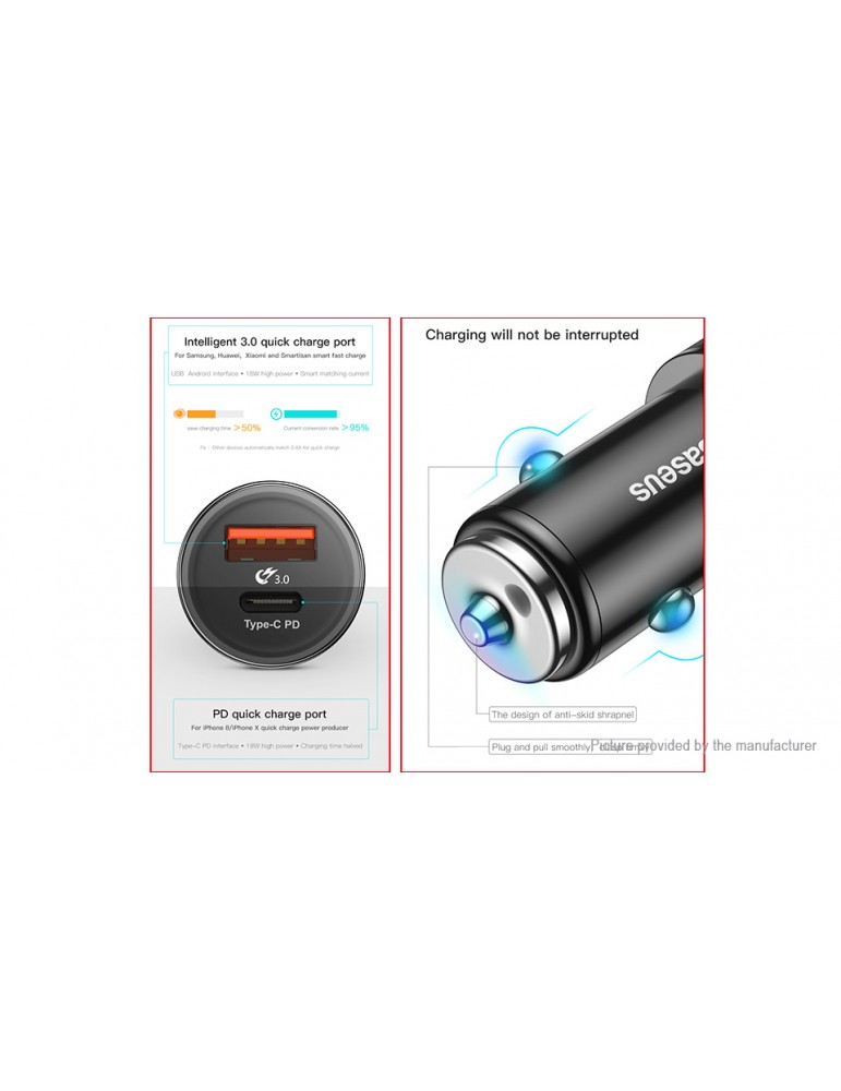 Authentic Baseus Small Screw USB-C PD Fast Charge Car Charger Power Adapter